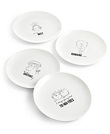 Words Veggie Salad Plates, Set of 4, Created for Macy's