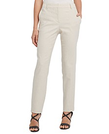 Striped Flat-Front Straight-Leg Dress Pants