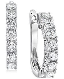 """Diamond Small Huggie Hoop Earrings (1 ct. t.w.) in 14k White Gold, 0.75"""""""