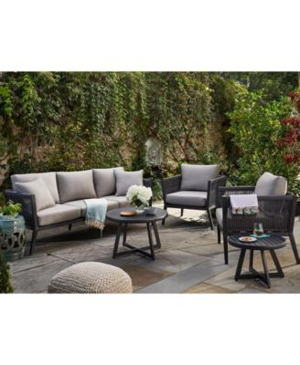 Braxtyn Outdoor 5-Pc. Seating Set (Sofa, 2 Club Chairs, Round End Table & Round Nesting Coffee Table) with Sunbrella® Cushions, Created for Macy's