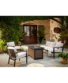 Stockholm Outdoor 4-Pc. Seating Set (Sofa, 2 Club Chairs & Fire Pit) with Sunbrella® Cushions, Created for Macy's