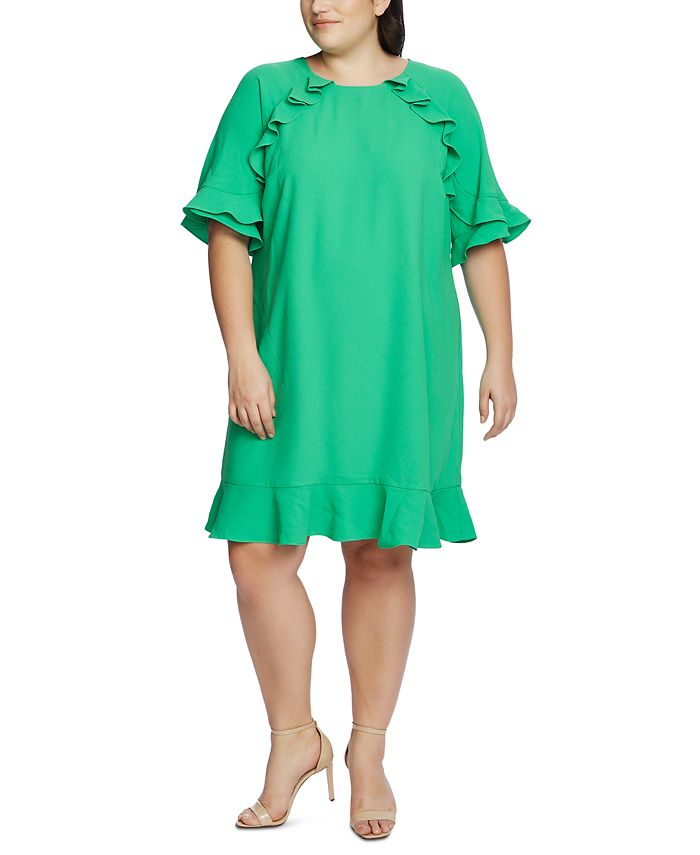 CeCe - Plus Size Ruffled Crepe Dress