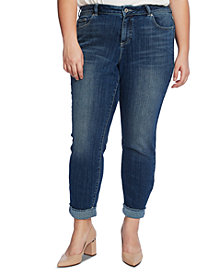 CeCe Plus Size 5 Pocket Jean with Polkadot Cuff
