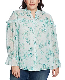 Plus Size Breezy Bouquet Ruffled Blouse