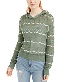 Juniors' Pointelle-Knit Hoodie Sweater