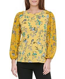 Printed Smocked-Shoulder Blouse