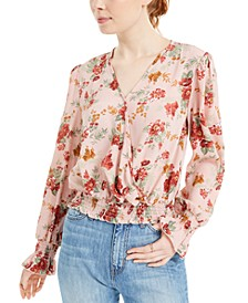 Juniors' Floral-Print Smocked-Hem Blouse