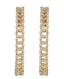 Diamond (3/4 ct. t.w.) Link Medium Hoop Earrings in 14K Yellow Gold