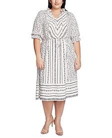 Plus Size Ruffle-Sleeve Mixed-Print Dress