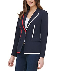 Contrast Piping Button Blazer