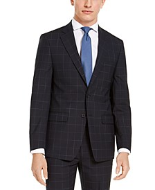 Men's X-Fit Extra-Slim Fit Infinite Stretch Navy Blue Windowpane Suit Jacket