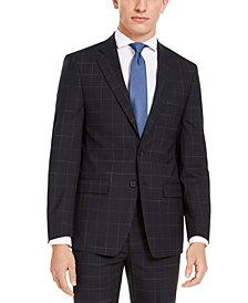 Calvin Klein Men's X-Fit Extra-Slim Fit Infinite Stretch Navy Blue Windowpane Suit Jacket