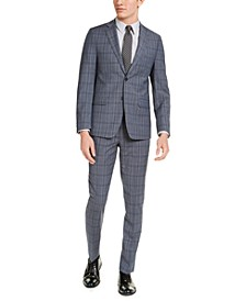Men's Skinny-Fit Gray/Blue Plaid Suit Separates