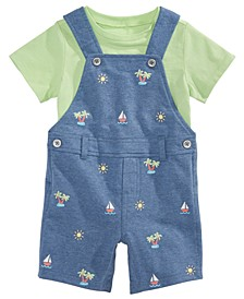 Baby Boys 2-Pc. T-Shirt & Printed Shortalls Set, Created for Macy's