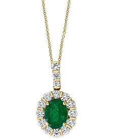 "EFFY® Emerald (2-1/6 ct. t.w.) & Diamond (3/8 ct. t.w.) 18"" Pendant Necklace in 14k Gold"