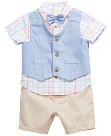 Baby Boys 3-Pc. Cotton Vest, Plaid Shirt & Shorts Set, Created for Macy's
