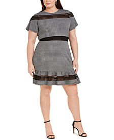 Plus Size Cheeky Check Mesh-Trim Dress