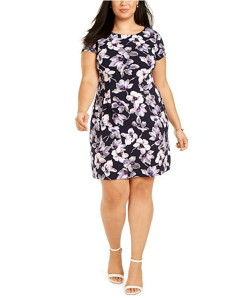 Connected Plus Size Floral Jersey Fit & Flare Dress