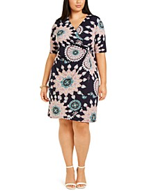 Plus Size Medallion-Print O-Ring Dress