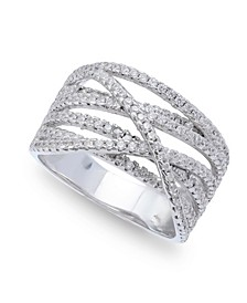Cubic Zirconia Pave Interlocking Ring (1-1/6 ct. t.w.) in Sterling Silver