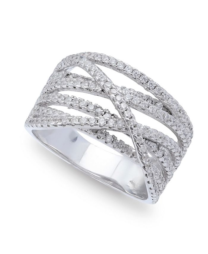 Macy's - Cubic Zirconia Pave Interlocking Ring (1-1/6 ct. t.w.) in Sterling Silver