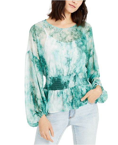 INC International Concepts INC Tie-Dyed Smocked-Waist Blouse, Created For Macy's