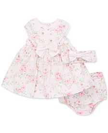 Baby Girls 3-Pc. Cotton Floral Dress, Panty & Headband Set