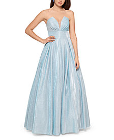 Betsy & Adam Metallic Illusion-Neck Ball Gown