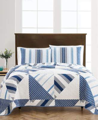 Reversible Printed Geometric Sails King Quilt, Created For Macy's