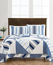 Geometric Sails Reversible Quilt and Sham Collection, Created for Macy's
