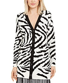 Zebra-Print Long Cardigan