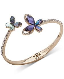 Gold-Tone Pavé & Stone Butterfly Bangle Bracelet