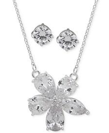 Silver-Tone Crystal Flower Pendant Necklace & Stud Earrings Set