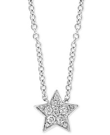 """EFFY® Diamond Pavé Star 18"""" Pendant Necklace (1/4 ct. t.w.) in Sterling Silver"""