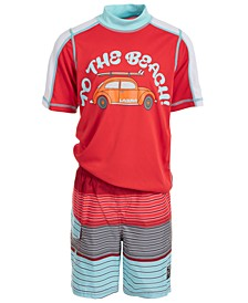Toddler & Little Boys 2-Pc. To The Beach Rash Guard & Swim Trunks Set