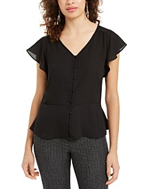 Juniors' Peplum-Hem Faux-Button Top