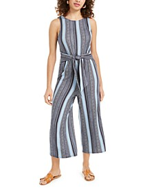Juniors' Striped Tie-Front Jumpsuit