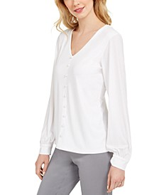 Paris Button-Trim V-Neck Top