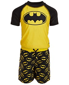 Toddler Boys 2-Pc. Batman Rash Guard & Swim Trunks Set