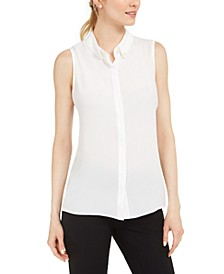 Sleeveless Pearl-Neck Woven Top