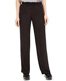 Studded Wide-Leg Pull-On Pants