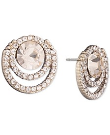 Crystal Halo Button Earrings