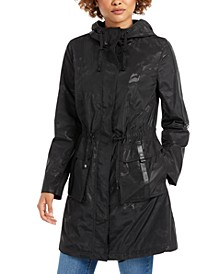 Hooded Faux-Leather-Trim Anorak Rain Jacket