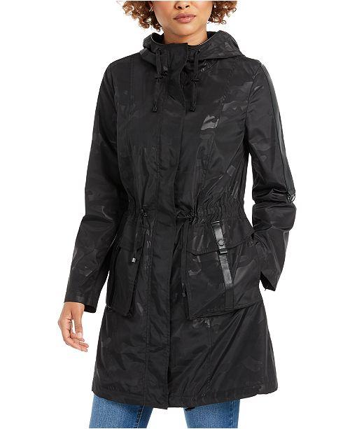 BCBGeneration Hooded Faux-Leather-Trim Anorak Rain Jacket