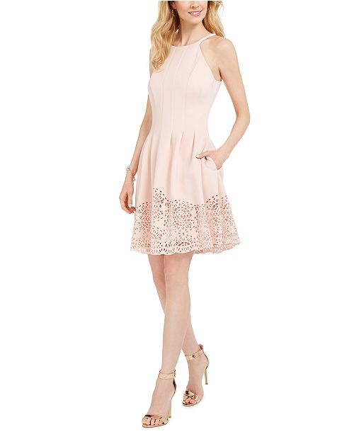 Vince Camuto Petite Cutout-Hem Fit & Flare Dress