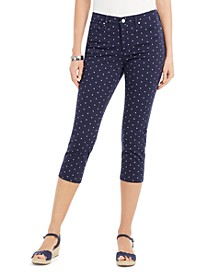 Polka-Dot Printed Bristol Capri Jeans, Created For Macy's