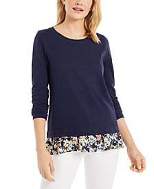 Petite Floral-Print-Hem Top, Created For Macy's