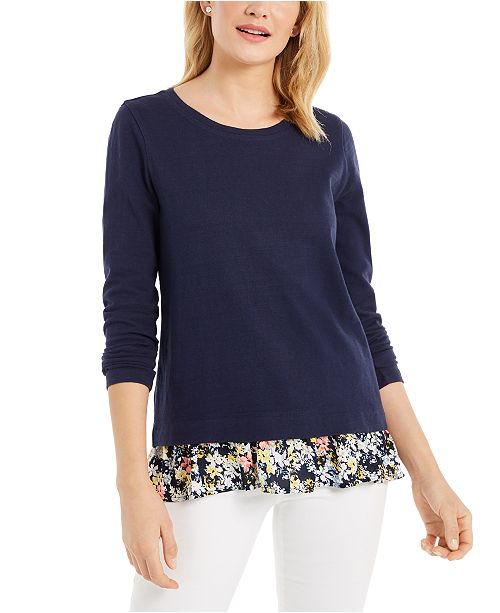 Charter Club Layered-Look Cotton Top, Created For Macy's