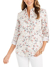 Floral-Print Tab-Sleeve Linen-Blend Shirt, Created for Macy's