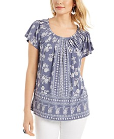 Ruched-Neck Tunic Top, Created for Macy's